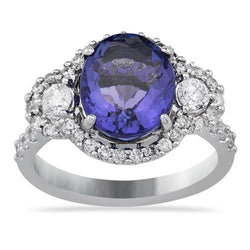 Three Stone Oval Tanzanite Ring in 18k White Gold 4.56 Ctw