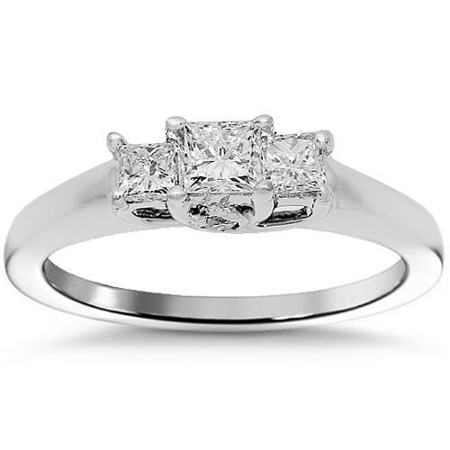 Three Stone Trellis Princess Diamond Engagement Ring 0.61 Ctw in 14K White Gold