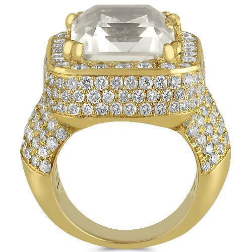 Unique 14K Solid Yellow Gold Diamond MensTourmaline Ring 18 Ctw