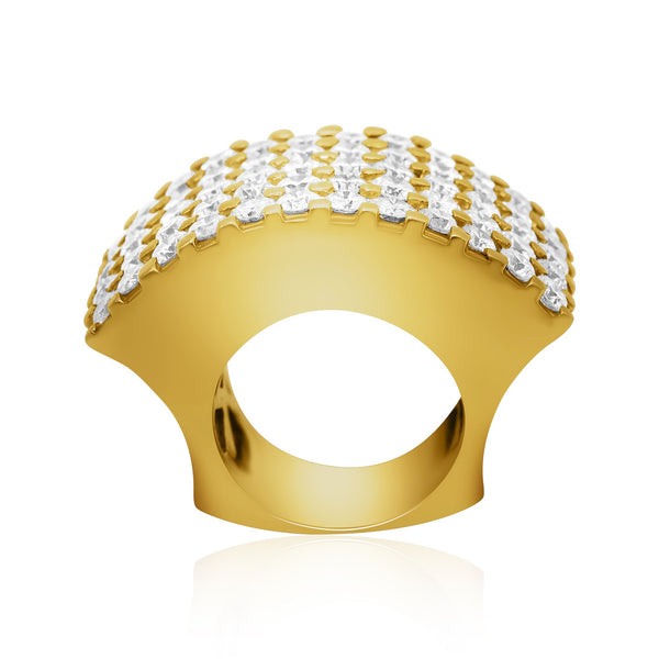 Wide Diamond Ring in 14k Yellow Gold 7 Ctw