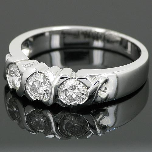 XO Anniversary Diamond Three Stone Ring in 14k White Gold 0.71 ctw