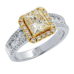 Yellow Diamond Engagement Ring in 14K Solid White Gold