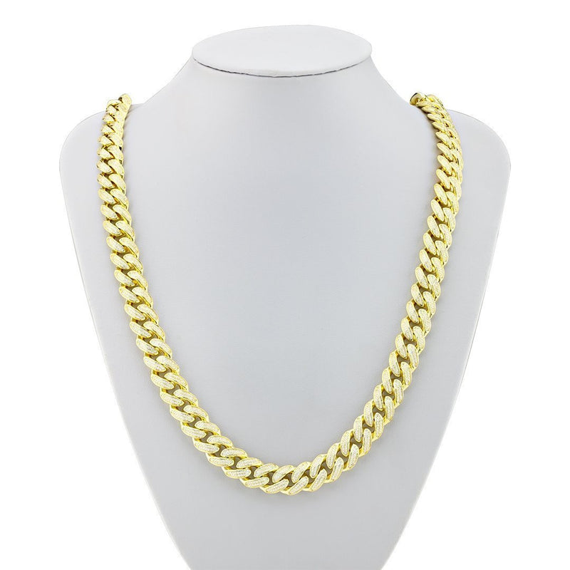 18k Yellow Gold Plated Sterling Silver Lab Created Stones Cuban Link Chain 28 inches Inches 13 mm