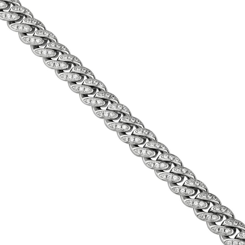 925 Sterling Silver Mens Lab Created Stones Cuban Chain 30 inches 9 mm