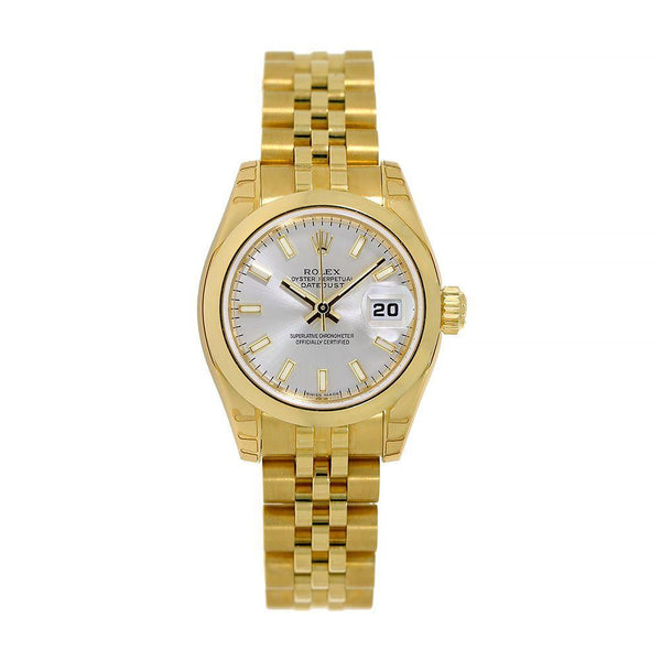 Rolex Lady DateJust Yellow Gold Silver Index Dial 26MM Watch 179168