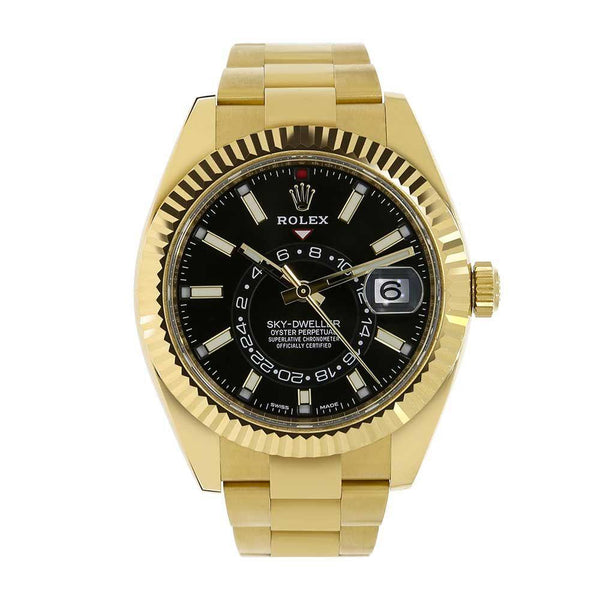 Rolex Sky-Dweller Black 42MM Yellow Gold Mens Watch 326938