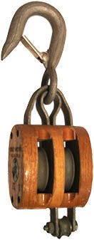 "3"" DOUBLE WOOD BLOCK, BRONZE BUSHED, LATCH HOOK, GALVANIZED, FOR 3/8"" ROPE"