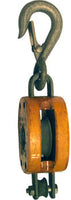 "3"" SINGLE WOOD BLOCK, BRONZE BUSHED, LATCH HOOK, GALVANIZED, FOR 3/8"" ROPE"