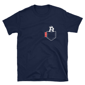 Bitcoin t-shirt with B for Bitcoin in the pocket in navy blue