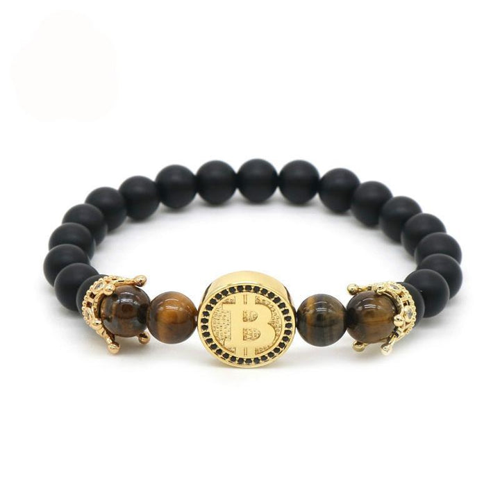 Gold Color Crown Bitcoin Bracelet