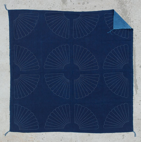 "Sashiko Stitched / Indigo Dyed ""Bloom Tapestry"""