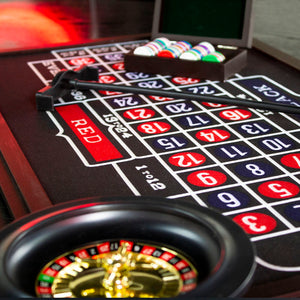 Set Juego de Mesa Casino 4 en 1 Dados, Ruleta, Blackjack, Poker Mesa Grande