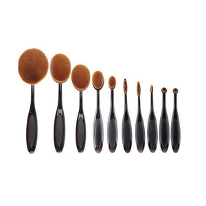 Set 10 Brochas Ovaladas Profesionales Maquillaje CupoclickCL