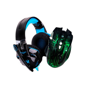 Pack Audífonos Gamer G2000 Micrófono Led Sonido 7.1 3.5mm + Mouse Gamer WEIBO WB-912 Cupoclick - Tienda Online