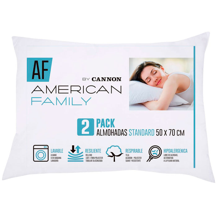 Pack de 2 Almohadas American Family By Cannon 50 x 70 cm