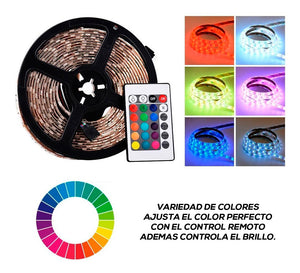 Tira Led Rgb 5050 Incluye Color Blanco y Multicolor