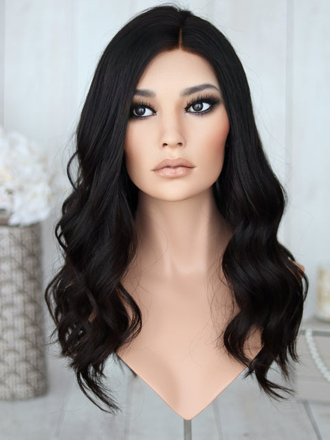 "23"" Darkest Brown Lace Top Wig (bleached front)"
