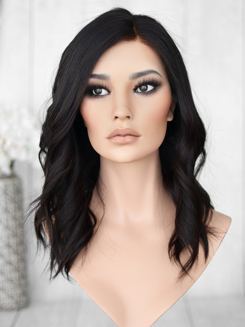 "18"" Darkest Brown Lace Top Wig (Bleached Front)"