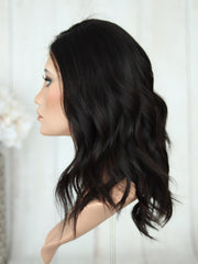 "18"" Darkest Brown Lace Top Wig (Bleached Top)(M)"