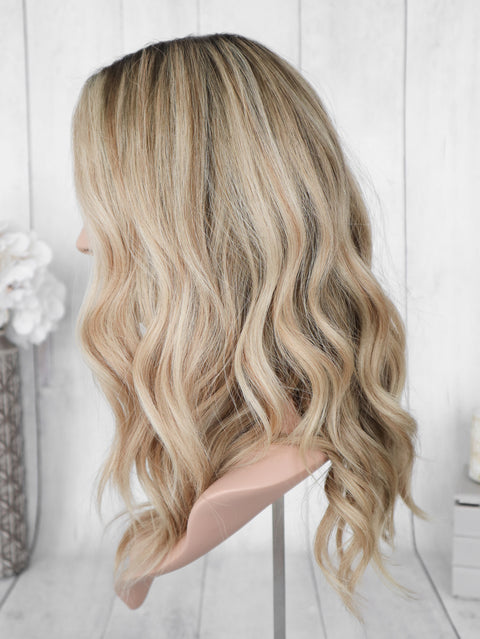 "20"" Brown-Blonde Mix Hand Tied Wig"