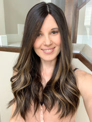 "20"" Naturally Slightly Wavy Dark Brown Handtied Wig"