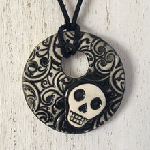 Load image into Gallery viewer, skull circle pendant- two choices