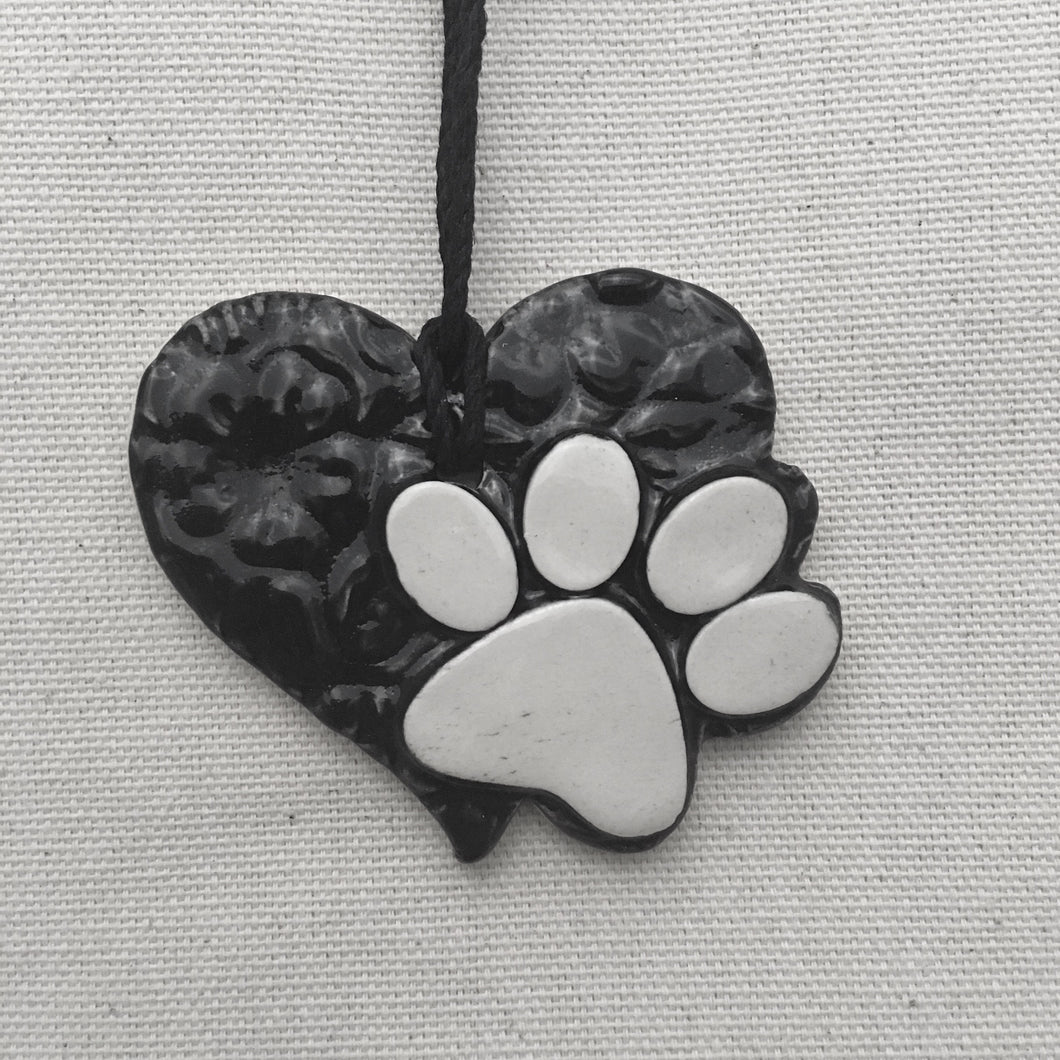 heart paw ornament