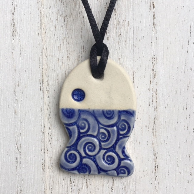 blue fish pendant