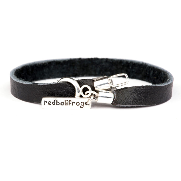 Leather Strap Bracelet - Black 20cm