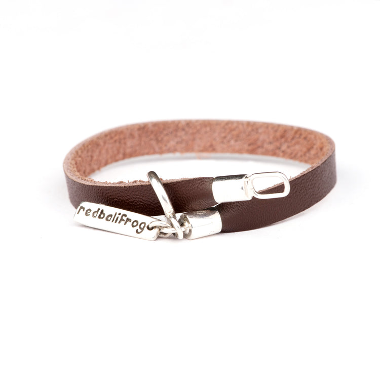 Leather Strap Bracelet - Brown 16cm