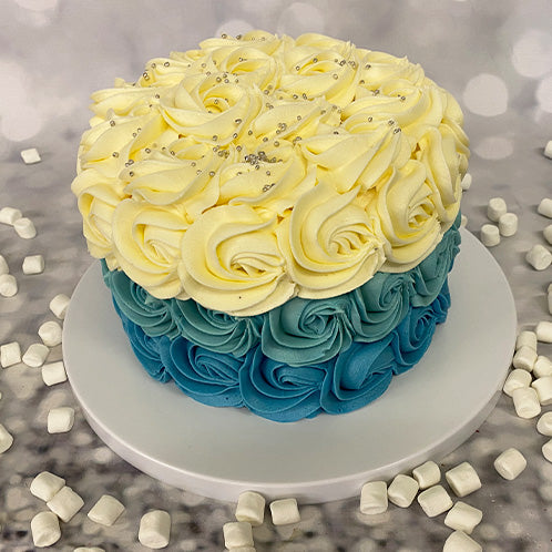 Beauty in Blue Celebration Cake