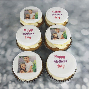 Mother's Day cupcakes with uploadable edible photo