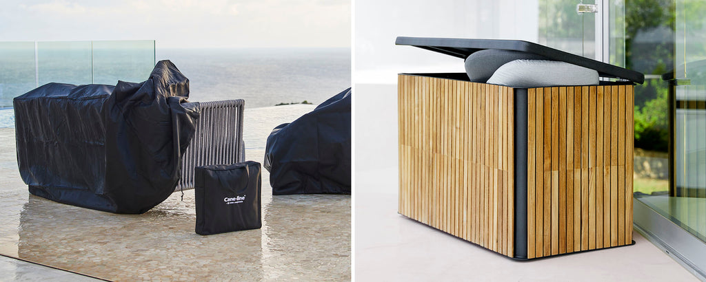 Outdoor cushion boxes & covers
