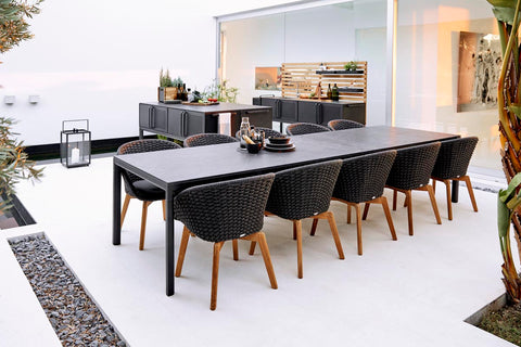 Modern outdoor kitchen and dining set