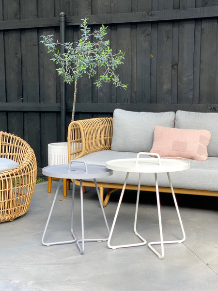 Modern garden furniture sofa with side tables