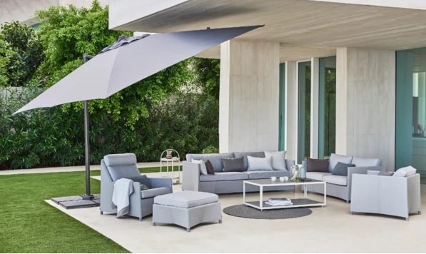 Cosy lounge area with modern parasol