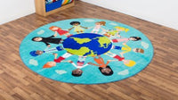 Children of the World Multi-Cultural Carpet - Teal