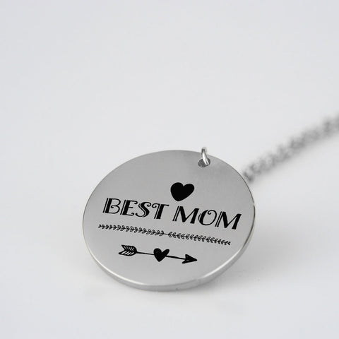 Image of Best Mom Heart Pendant Necklace