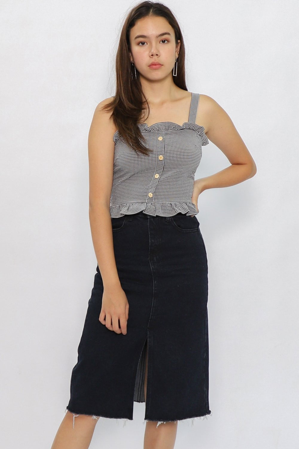 Ava Denim Slit Midi Skirt in Dark Blue Denim - Three One Duo