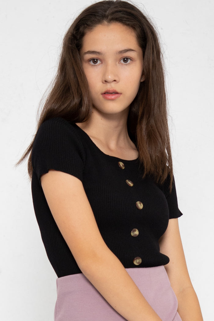 Noelle Ribbed Button Down Top - Three One Duo