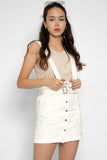 Hazel Button Down Dungaree in White - Three One Duo