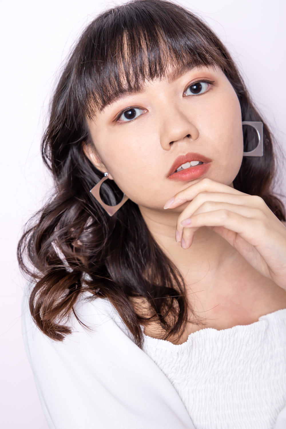 Tessa Square Hoop Earring in Silver - Three One Duo