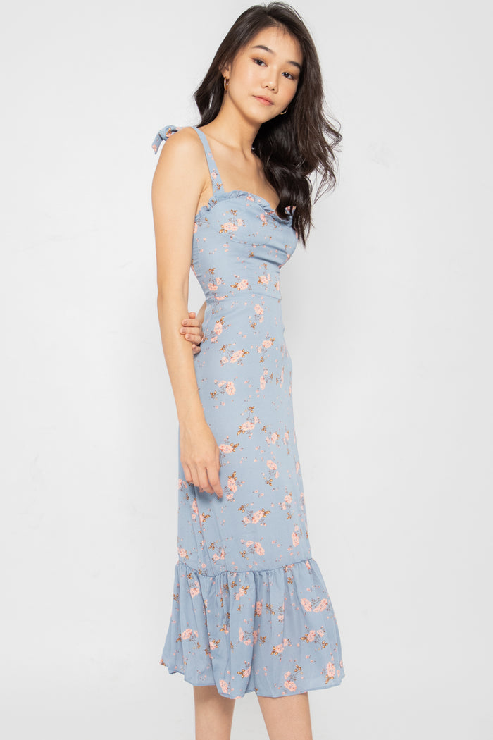 Bella Self Tie Floral Ruffle Dress - Three One Duo