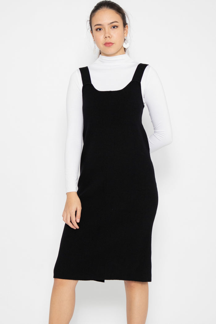 Madison Basic Knit Midi Dress in Black - Three One Duo