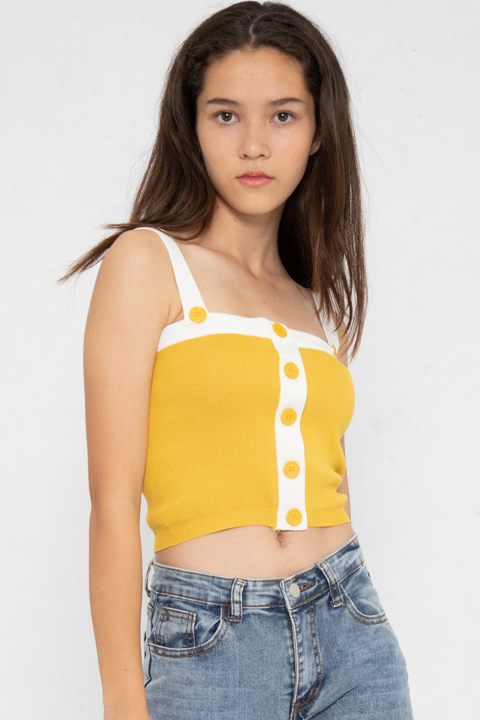 Marley Button Colorblock Spag Top - Three One Duo