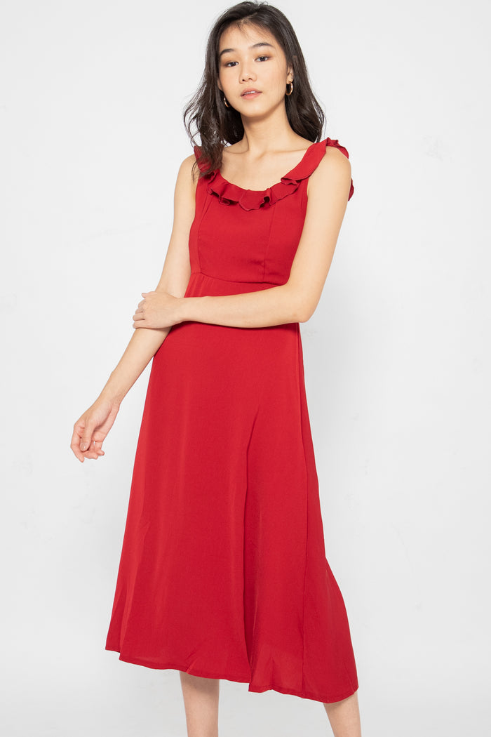Claudia Ruffle Flare Midi Dress - Three One Duo