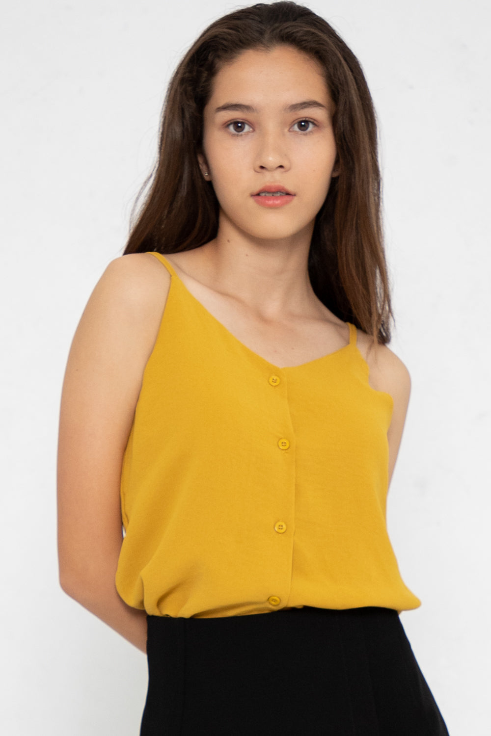 Nellie Button Down Cami Top in Mustard - Three One Duo