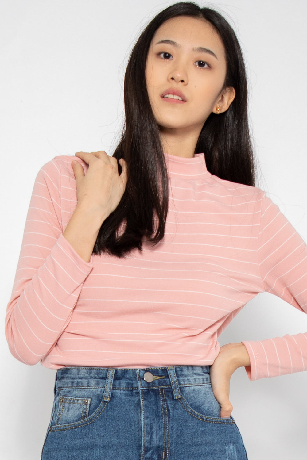 Hayley Striped Long Sleeve Top in Pink - Three One Duo