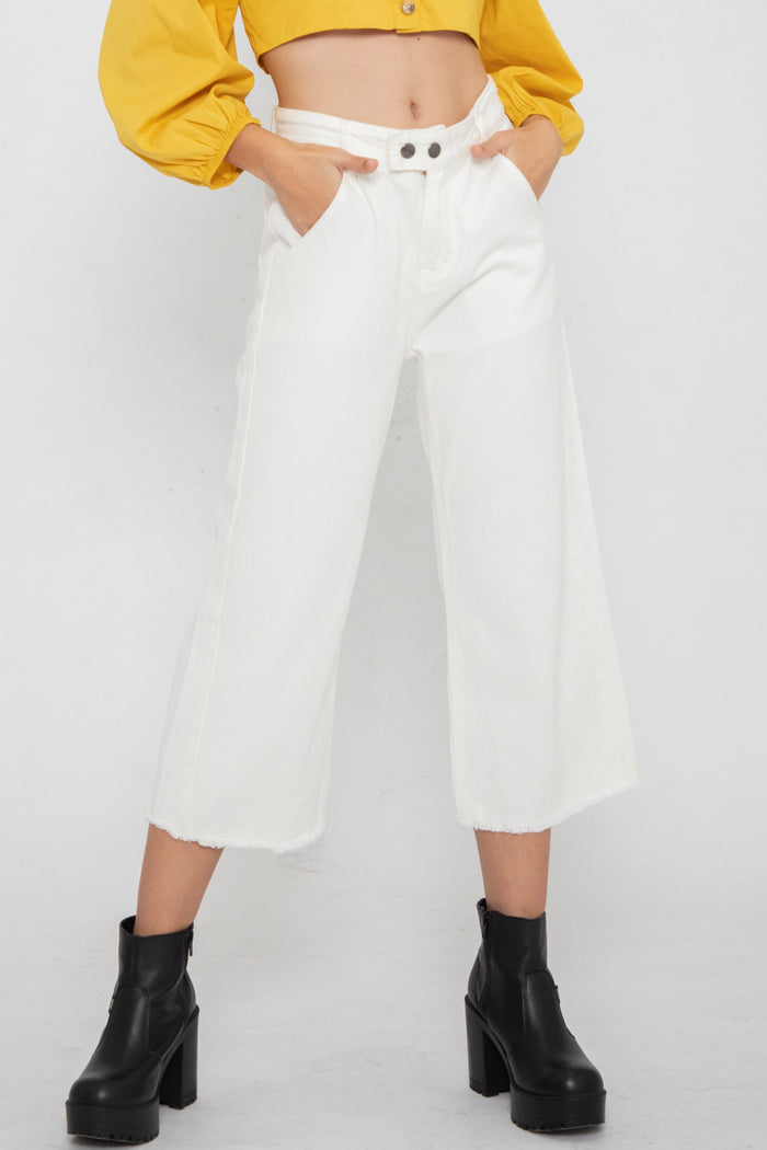 Wayne Double Button Jeans in White - Three One Duo