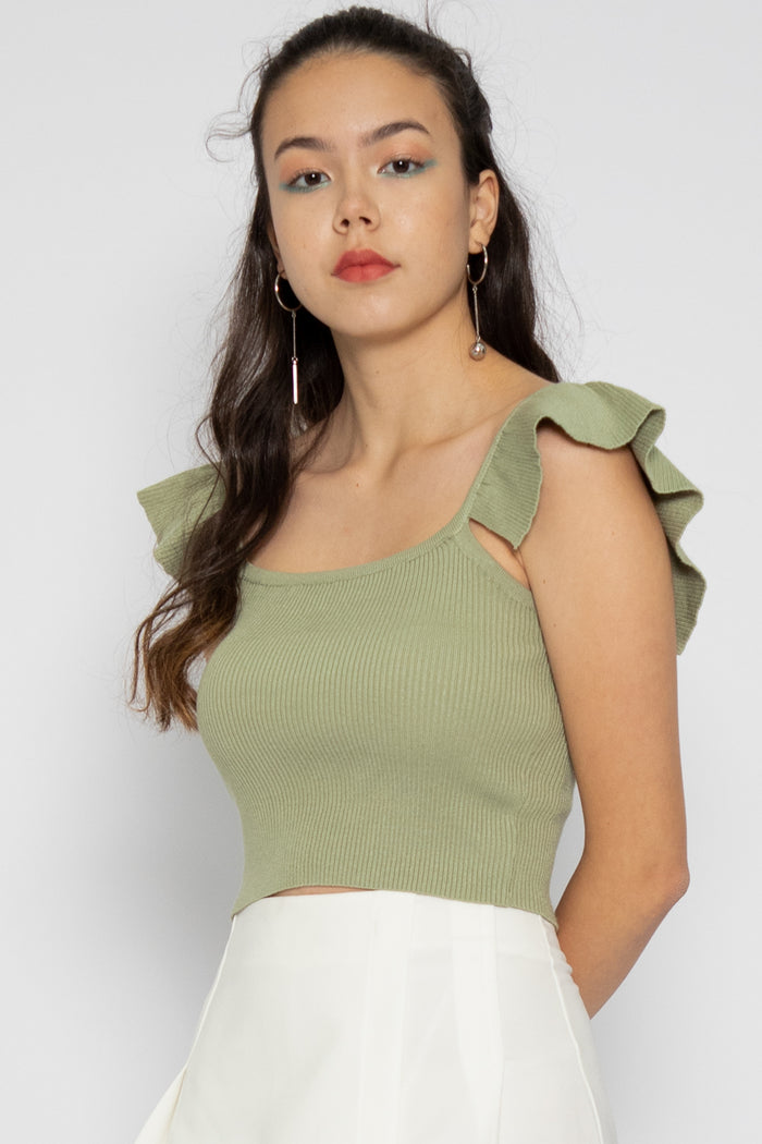Natalie Ruffle Spag Top in Sage Green - Three One Duo